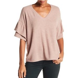H by Bordeaux Pink Nude Tiered Ruffle Sleeve Tee